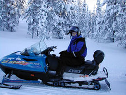 Snowmobile with a single rider