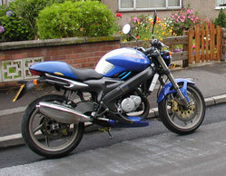 A 125 cc motorcycle, the Italian-manufactured Cagiva Planet.
