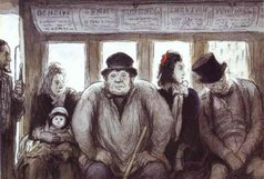 """Omnibus,"" crayon and watercolor drawing by Honoré Daumier, 1864 (Walters Art Museum)."