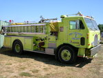 Since the late 1970s, lime green has become a more common color for American fire fighting apparatus. Pictured here is a Port Townsend, WA engine.
