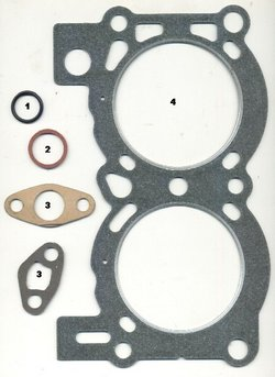 Some seals and gaskets 1. o-ring 2. fiber washer 3. paper gaskets 4. cylinder head gasket