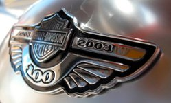 Anniversary badge on a 2003 Harley-Davidson
